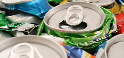 Empty cans for recycling