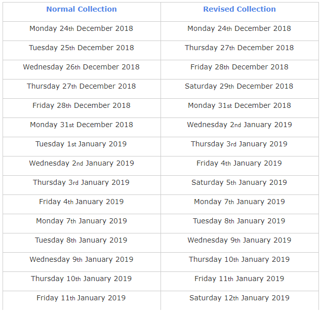 Tendring Rubbish & Recycling Collection Timetable