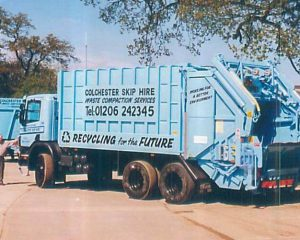 An old Colchester Skip Hire Van image.