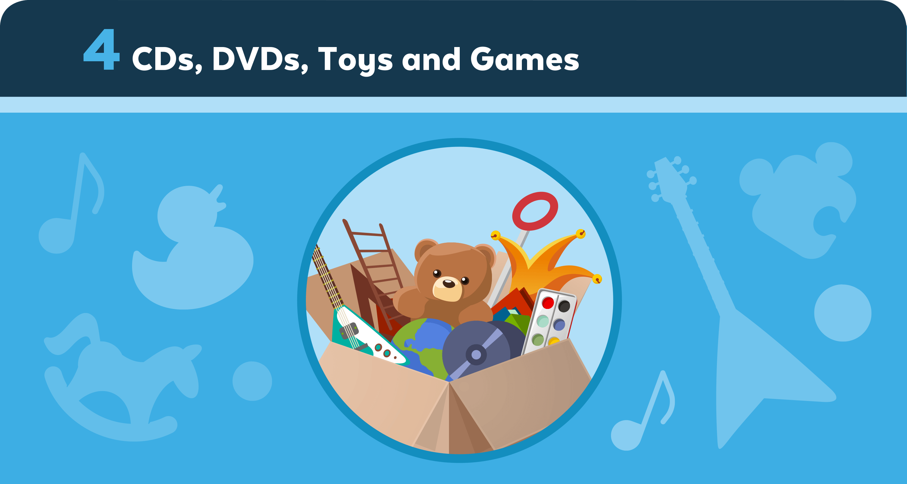 CDs, DVDs, Toys and Games