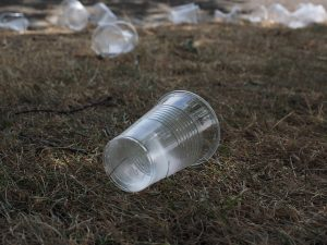 Plastic cups used to create football pitches